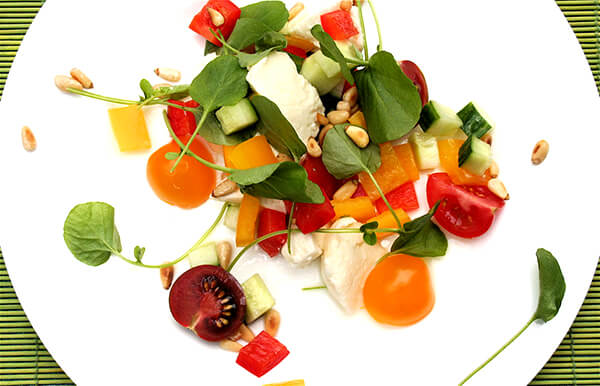 Tomato, cucumber, watercress salad