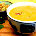 Thai Pumpkin Soup with Sweet & Salty Pumpkin Seeds