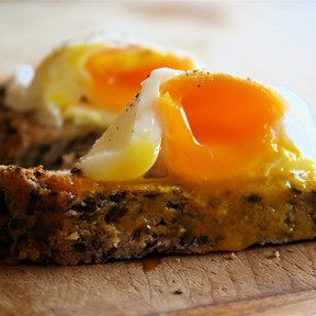 Poached Eggs Over Flax Bread