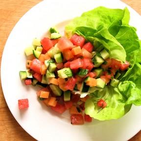 Melon & Cucumber Salad with Mint Vinaigrette