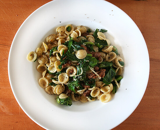 Orecchiette with Hot Italian Sausage & Wilted Greens - Wellsphere