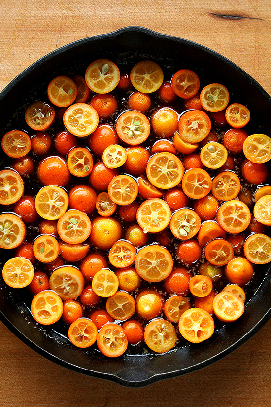kumquats in pan