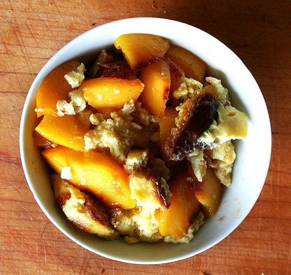 bread pudding with sautéed peaches