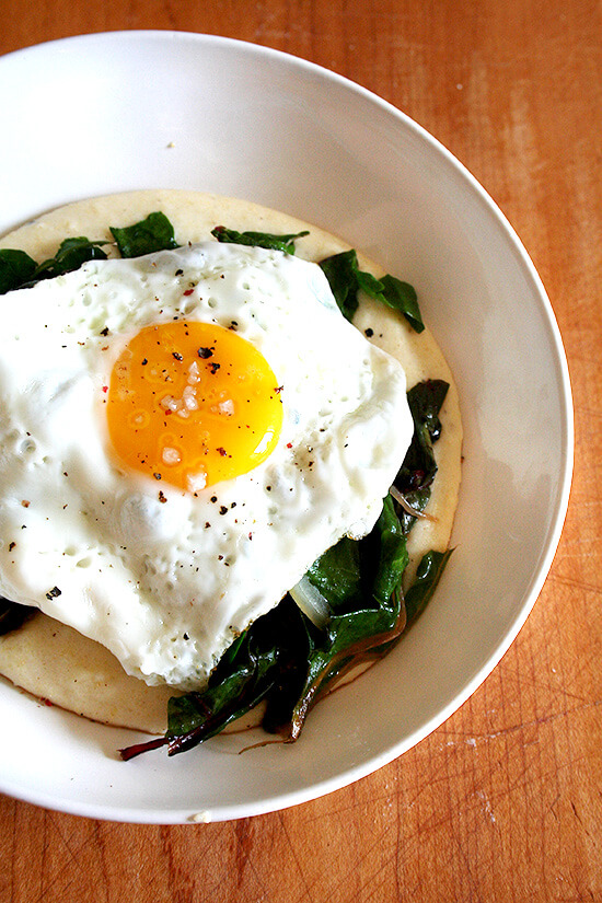 polenta, chard and fried egg