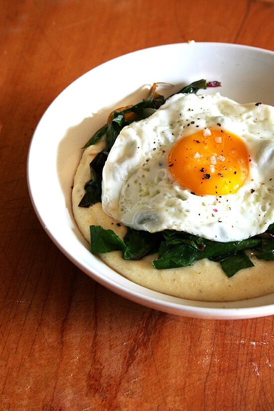 polenta, chard and fried egg