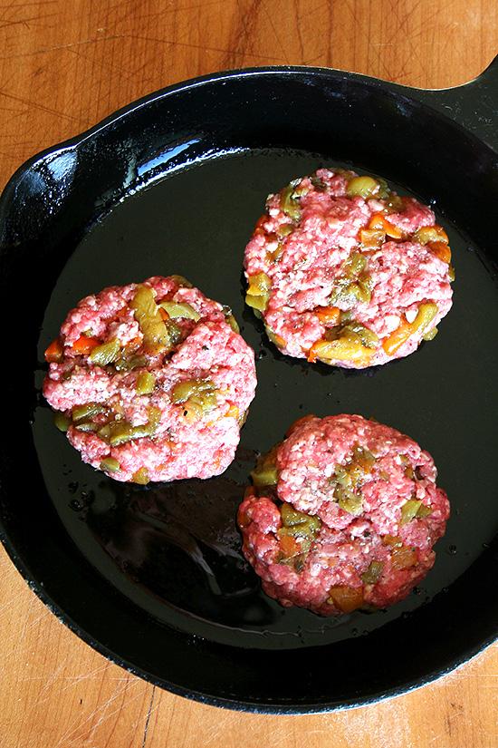 patties in pan