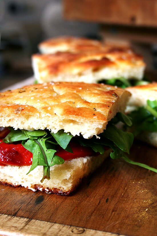 Homemade Focaccia + Roasted Red Pepper & Arugula Sandwiches ...