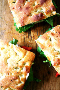 Homemade Focaccia + Roasted Red Pepper & Arugula Sandwiches