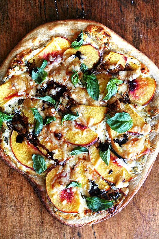 Nectarine Pizza With Basil Blue Cheese And Reduced Balsamic
