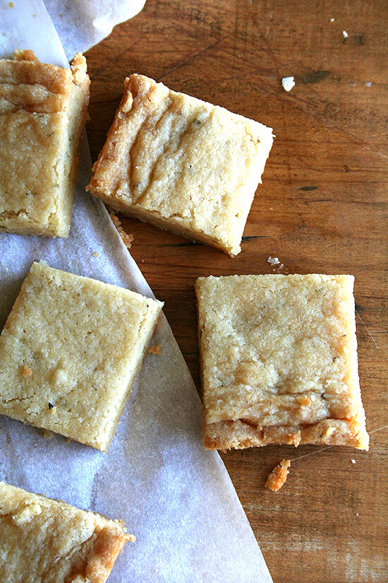 Careful. These rosemary shortbread cookies are addictive. They've got that sweet-salty dynamic, but also a hint of rosemary, a savory touch that might lead you to eat ten of them, as you would a cracker. Try not to do that. // alexandracooks.com