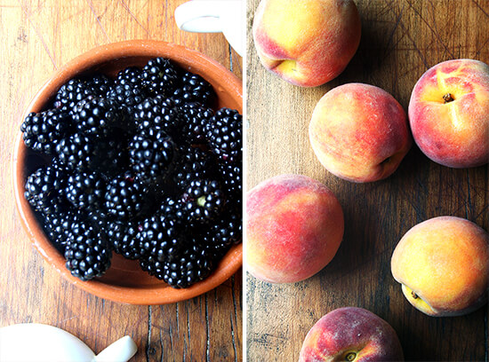 Blackberries and Peaches from my CSA