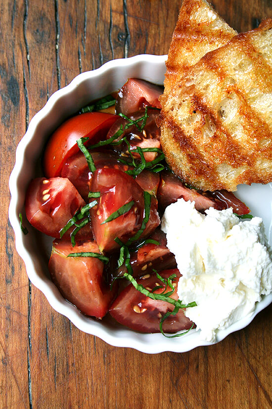 Tomato Salad with Homemade Ricotta and Grilled Bread