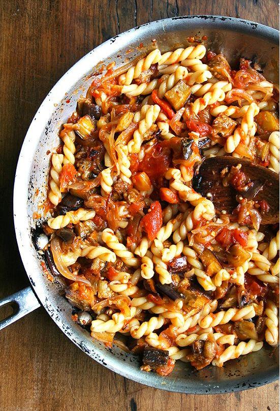 Chez Panisse Eggplant, Tomato, and Caramelized Onion pasta