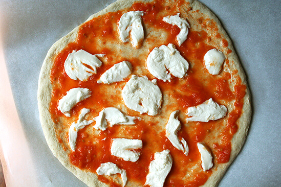 unbaked margherita pizza