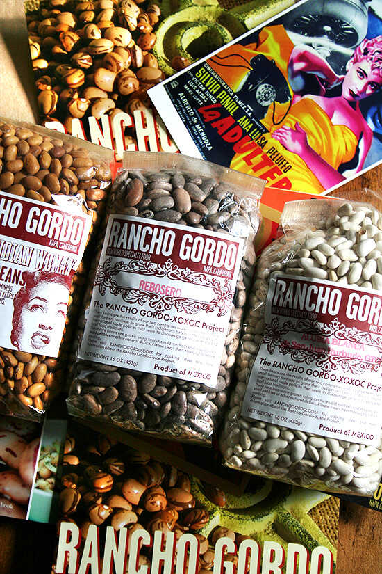 Rancho Gordo beans, cookbook and postcards