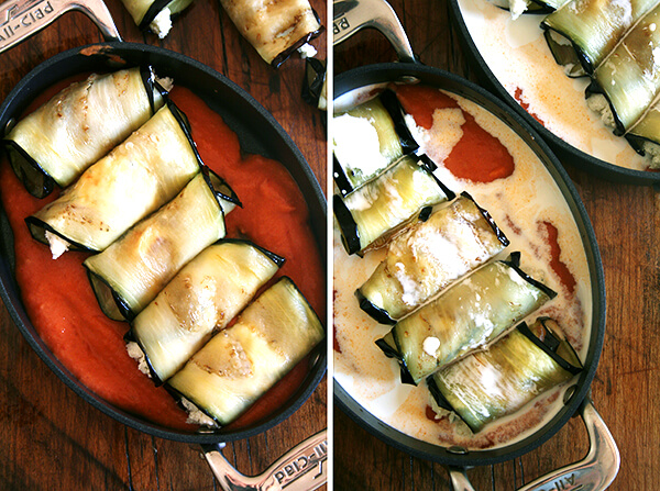 assembled involtini in dishes