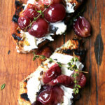 Lunch: Roasted Grapes with Thyme, Fresh Ricotta & Grilled Bread
