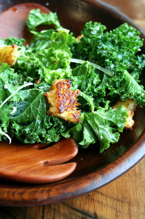 Addictive Kale Caesar Salad with Brioche Croutons