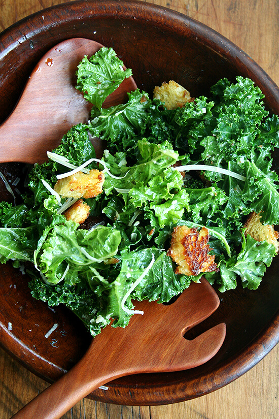 kale caesar salad with brioche croutons