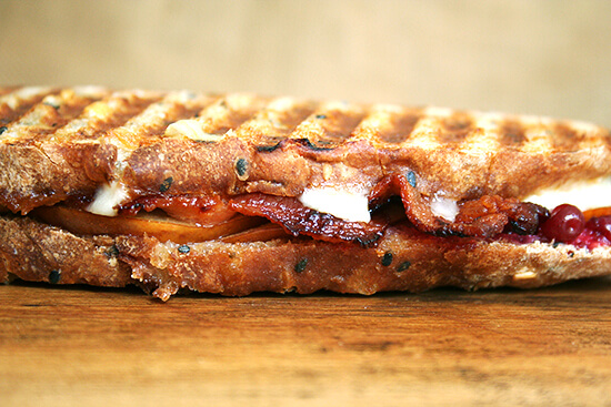 bacon, pear and cheddar panini