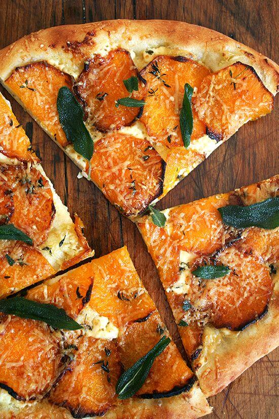 Butternut squash and crispy sage pizza