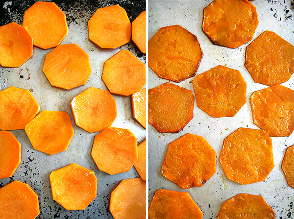 butternut squash, unbaked and baked