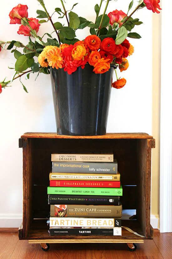 cookbooks and flowers