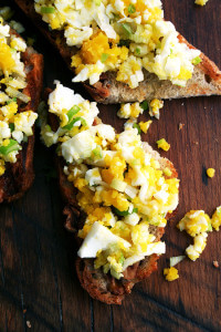 hard-boiled egg toasts with bagna cauda