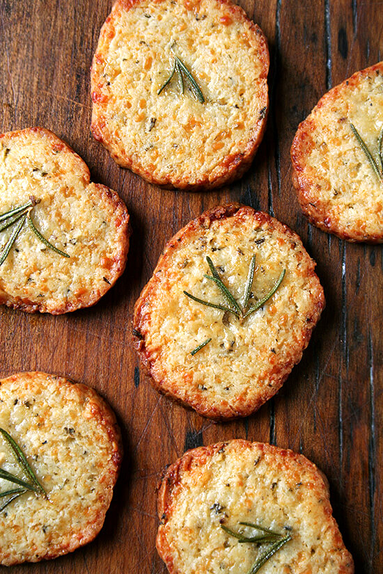 rosemary and parmigiano crackers