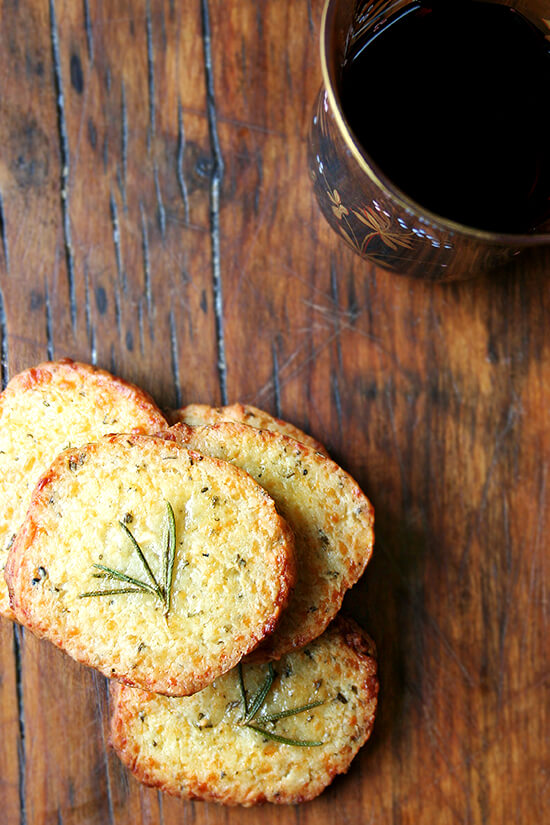 glogg and parmesan rosemary crackers