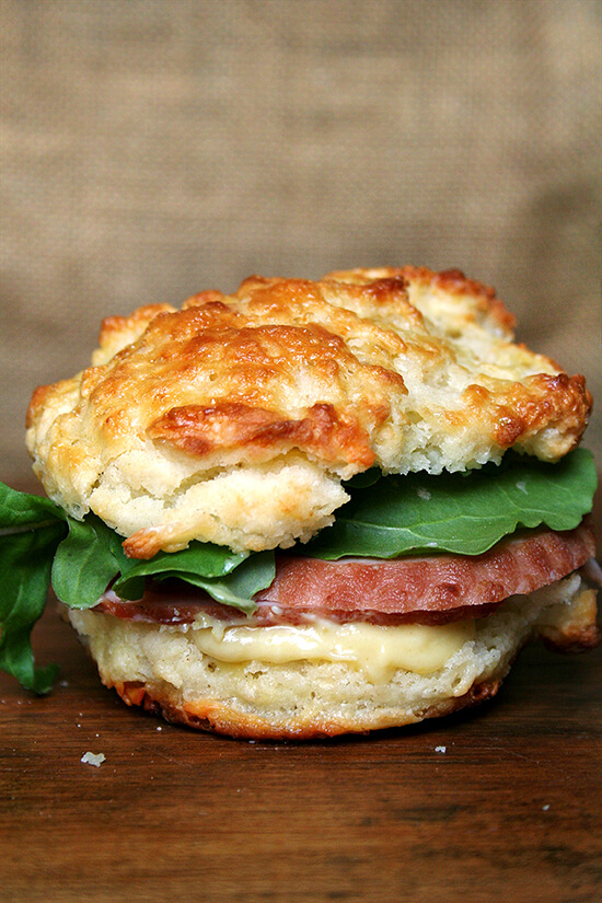 leftover ham & arugula sandwich on cheddar biscuit with mustard sauce