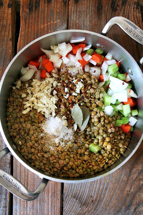 lentil soup, uncooked