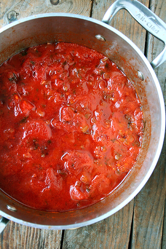 tomato sauce, just finished stewing