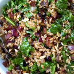 Farro Salad with Toasted Pine Nuts, Currants & Mustard Greens