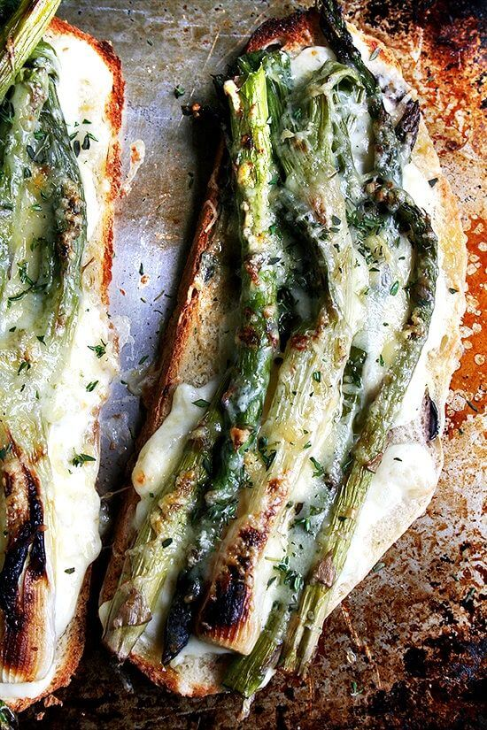 asparagus and spring onion croque monsieur