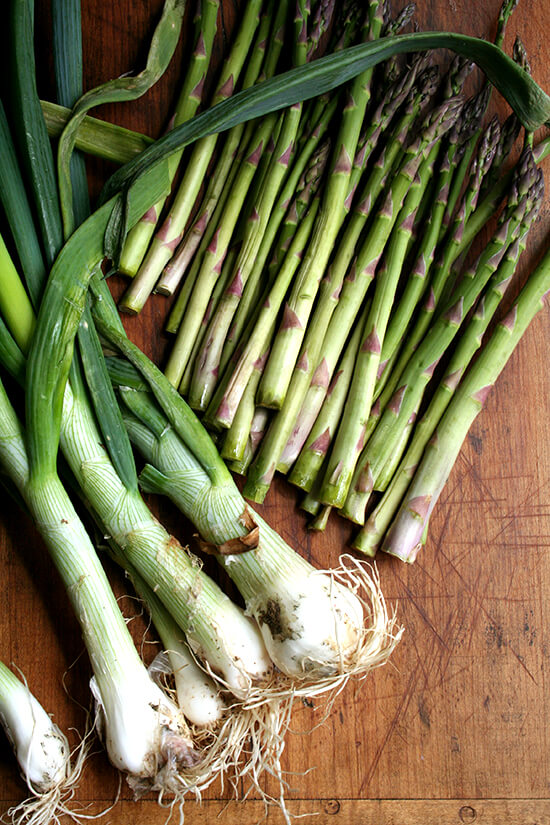 asparagus & spring onions