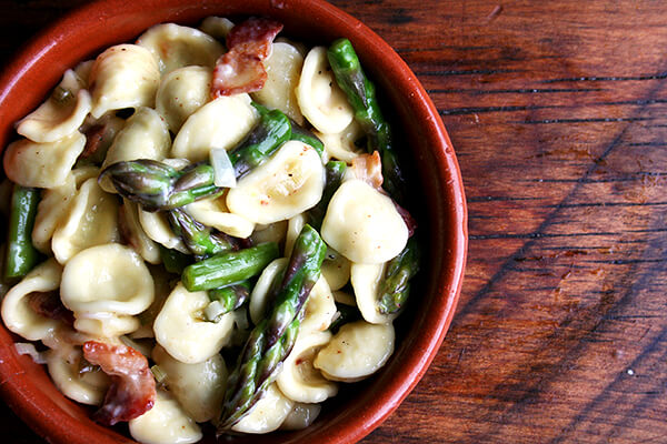 orecchiette carbonara with asparagus