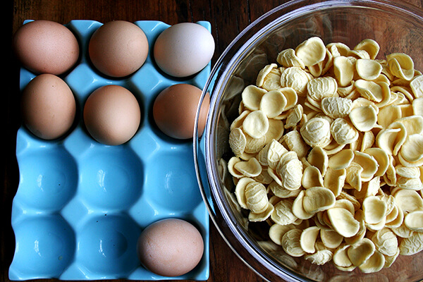 orecchiette and eggs