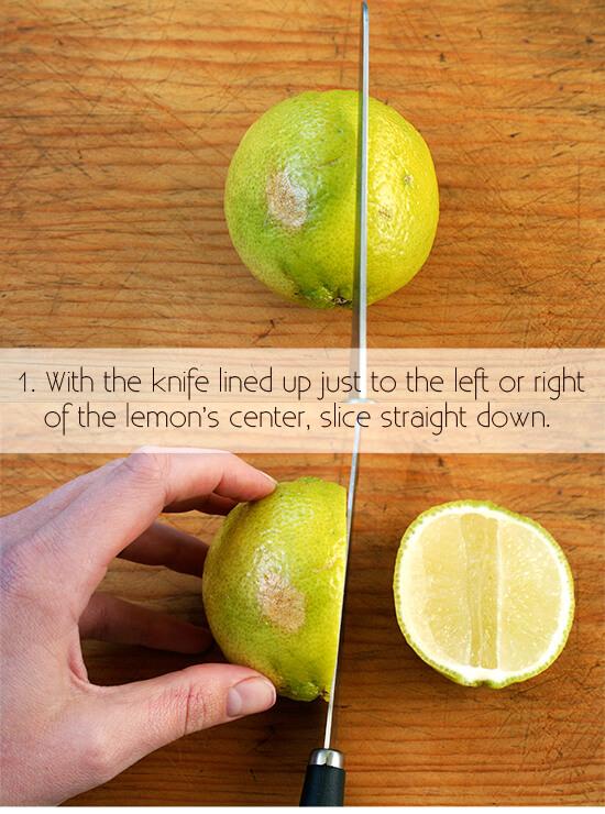cutting a lemon for garnish, step 1