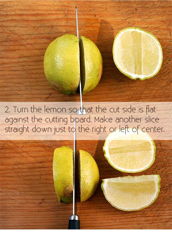 cutting a lemon for garnish, step 2