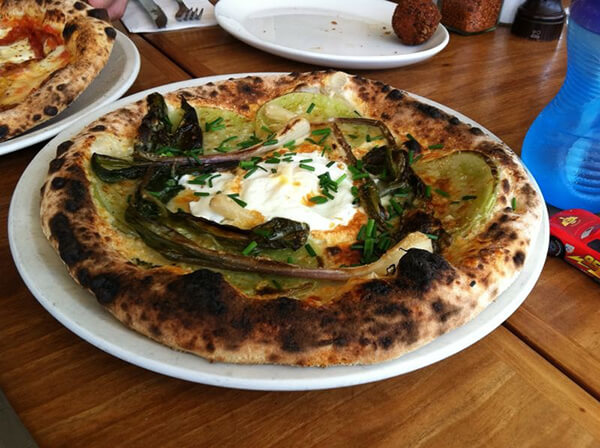 green tomato, ramp, Grana & egg pizza at 2Amys
