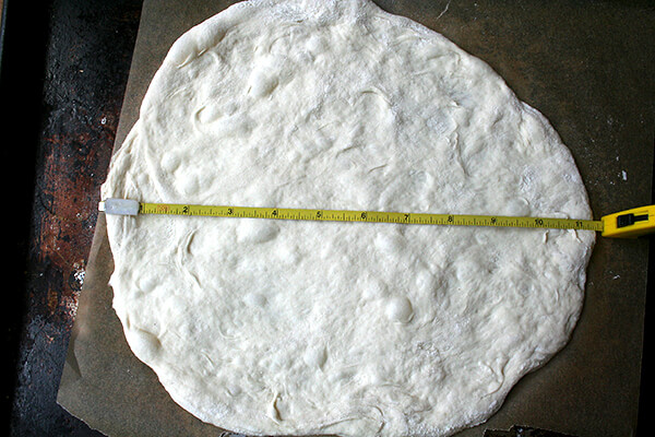 dough with tape measure