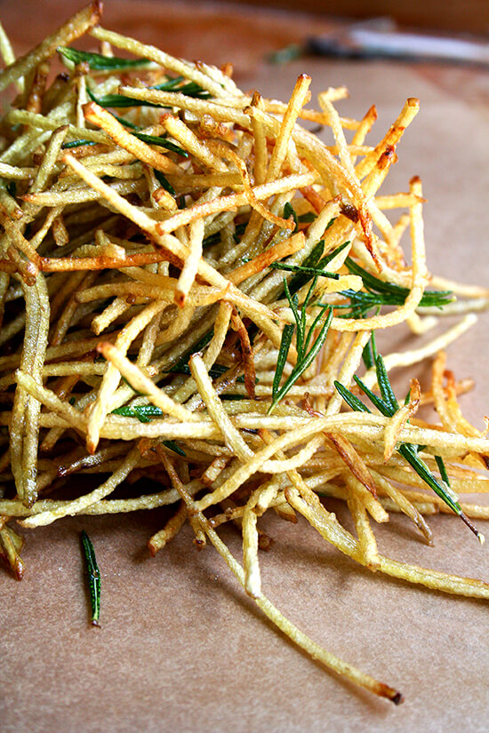 "Although my use of flavored salt extends to this single recipe — ""straw potatoes"" seasoned with lemon salt (thanks to April Bloomfield) and fried with rosemary (thanks to Jamie Oliver) — the possibilities are endless. Salt might just become lemon salt from here on out. // alexandracooks.com"