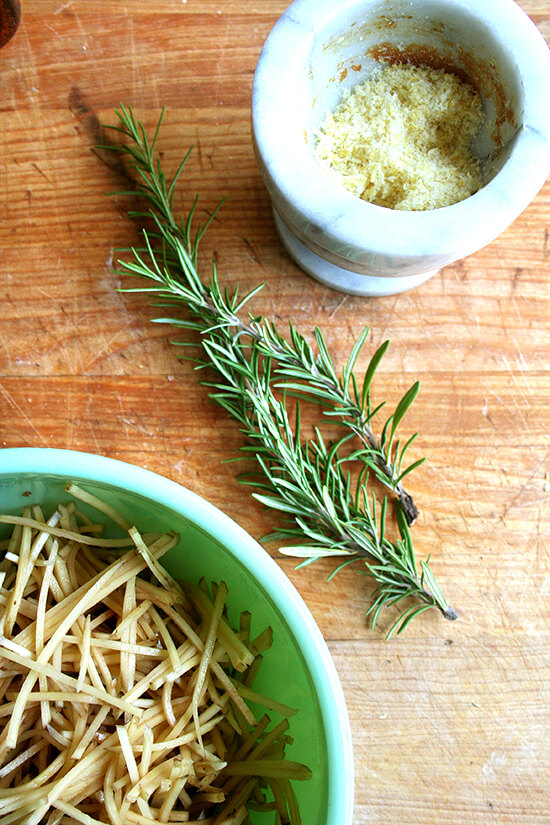 potatoes, rosemary, lemon salt