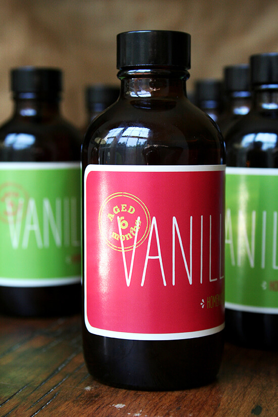homemade vanilla, bottled