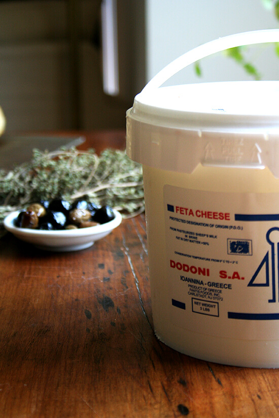 bucket of feta