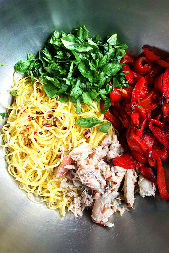 linguini, basil, crab and roasted red peppers