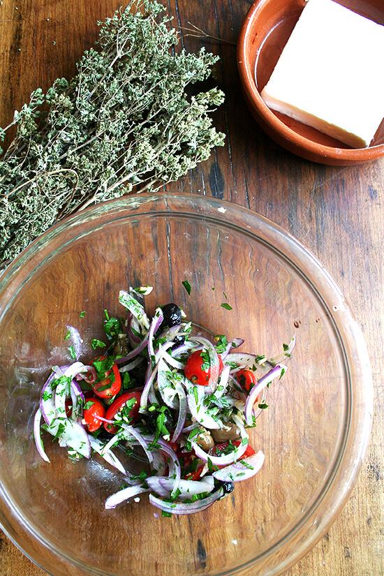 olive topping, oregano, feta