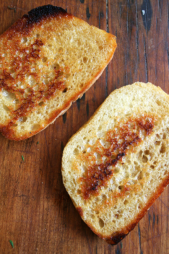 butter-toasted bread slices