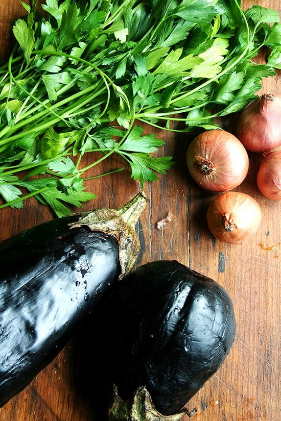 eggplant, parsley & shallots